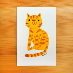 Naive Orange Tabby Cat - Mini Painting