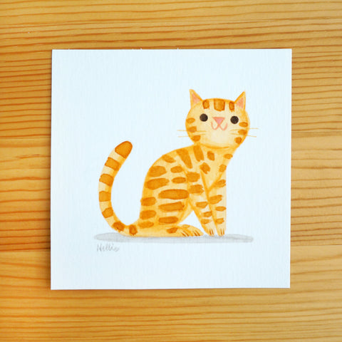 Little Orange Tabby Sitting - Mini Painting