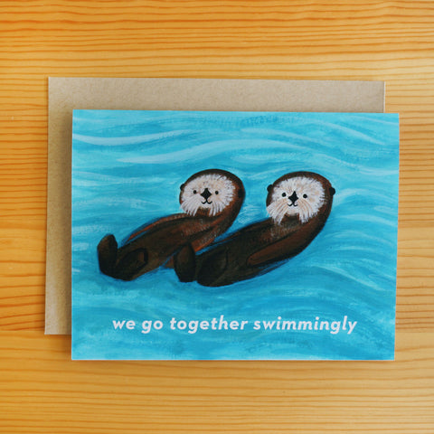 Sea Otters Together Card