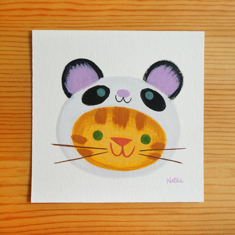 Panda Cat - Mini Painting