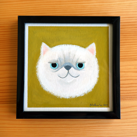 White Persian Cat - 4x4 Painting