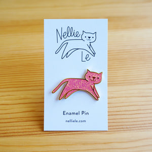 Pink Sparkle Cat Pin