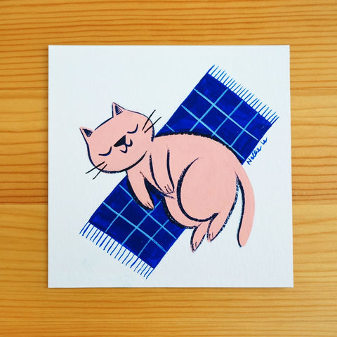Pink Cat on Rug - Mini Painting