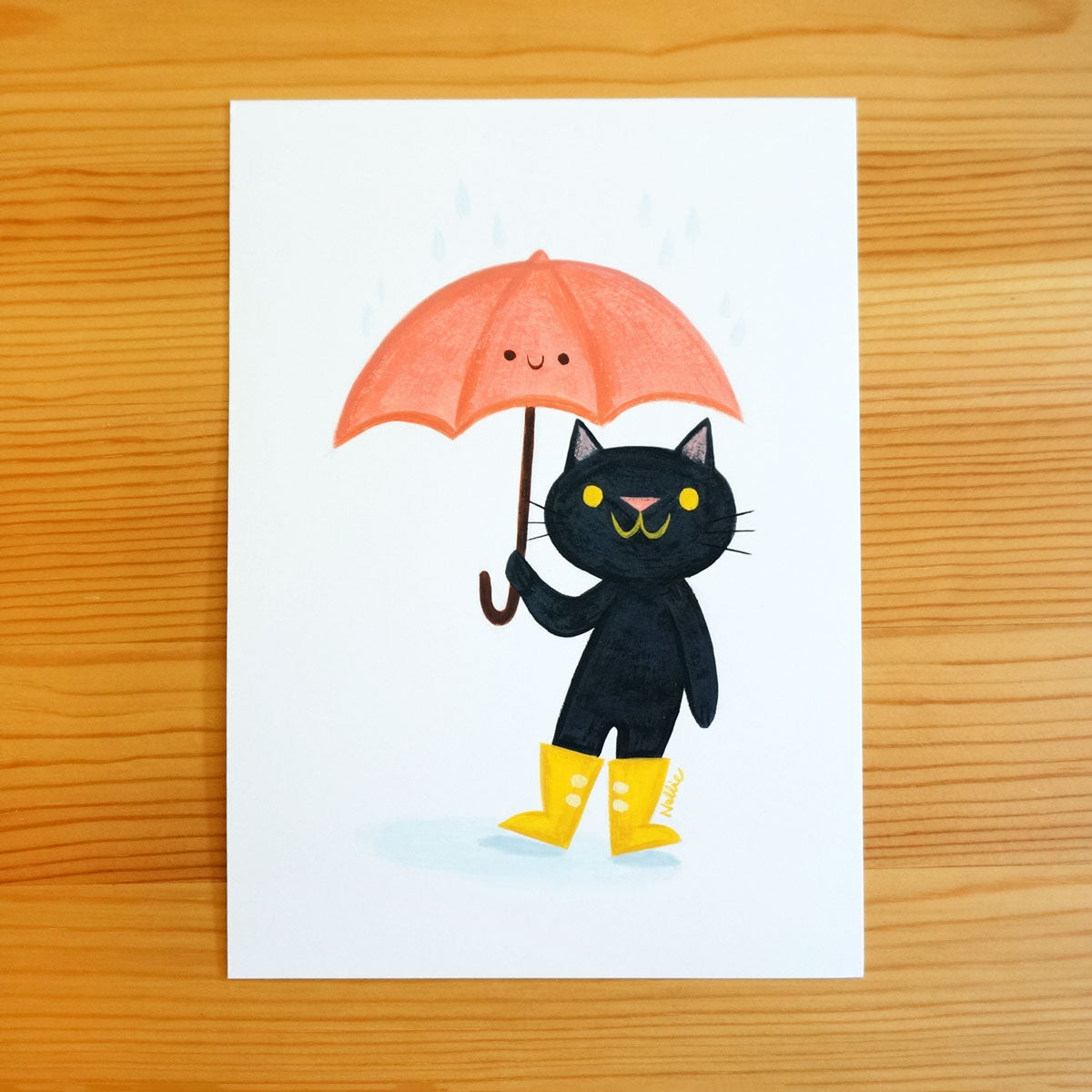 Cat in Rainboots - Original Painting