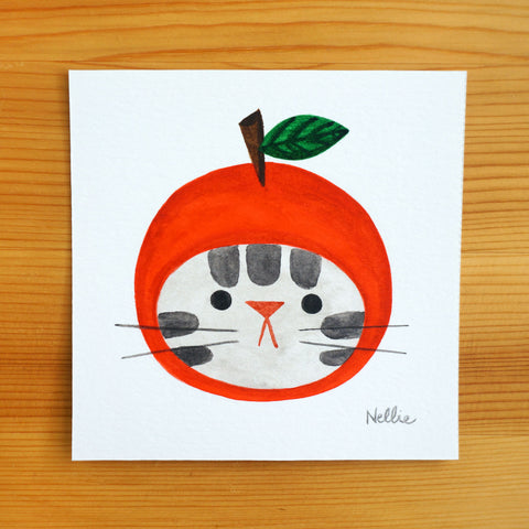 Sad Apple Cat - Mini Painting