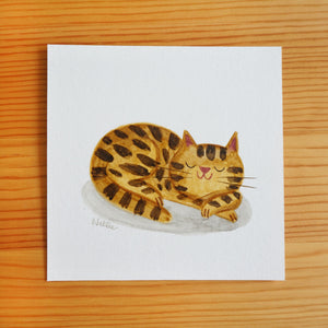Snoozing Brown Tabby - Mini Painting