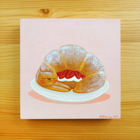 Strawberry Croissant Cat - Original Painting