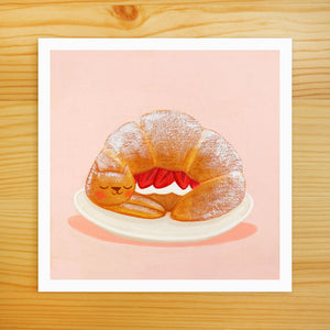Strawberry Croissant Cat - 5x5 Print