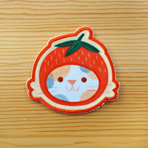 Strawberry Hat Cat Iron-On Patch