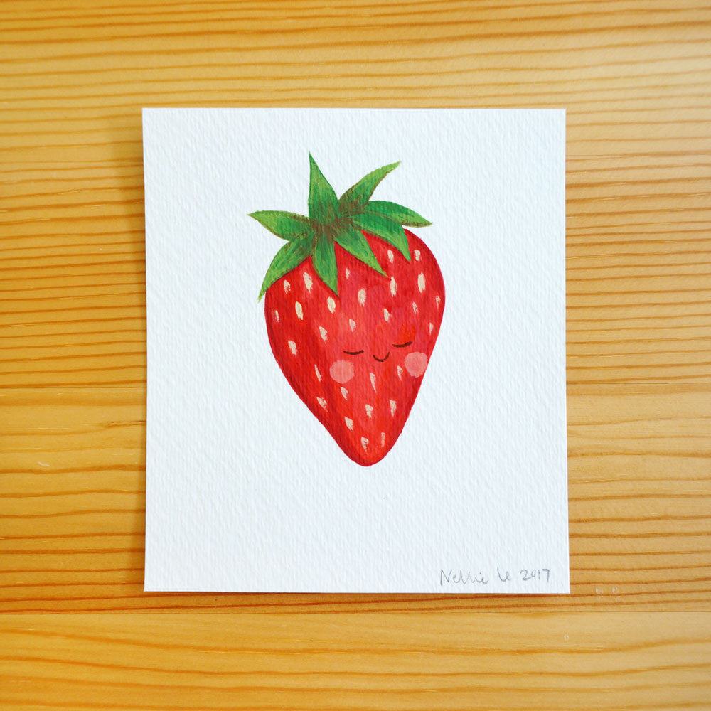 Sleepy Strawberry Mini Painting
