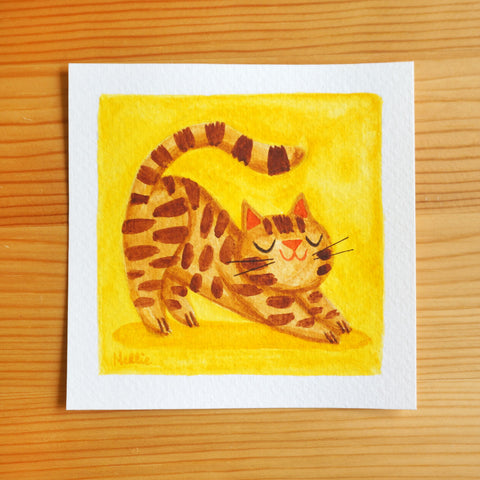 Stretching Ginger Cat - Mini Painting