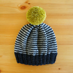 Stripe Hat - Charcoal/Chartreuse
