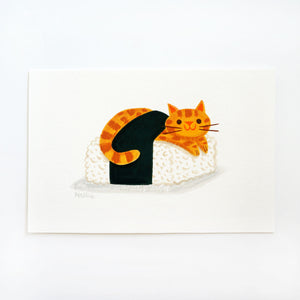 Ginger Cat Sushi 2 - Mini Painting