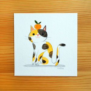 Tangerine Cat 1 - Mini Painting