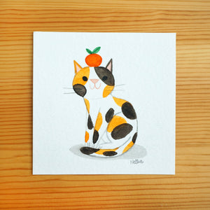 Tangerine Cat 2 - Mini Painting