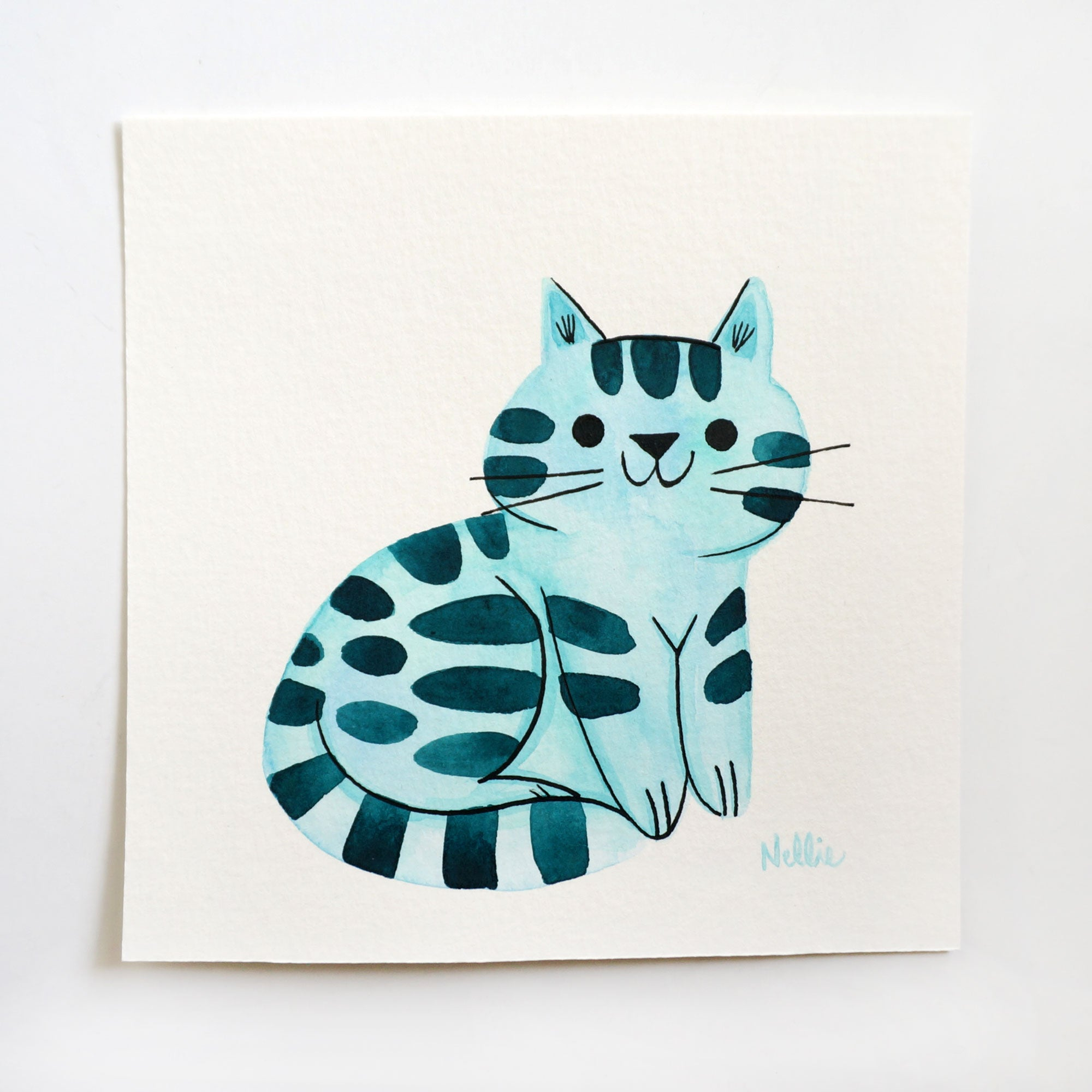 Little Teal Tabby - Mini Painting