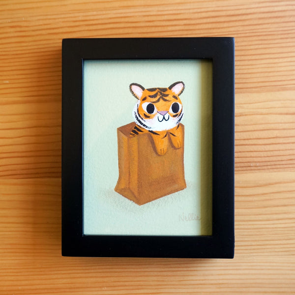 Tiger in a Bag - Mini Painting