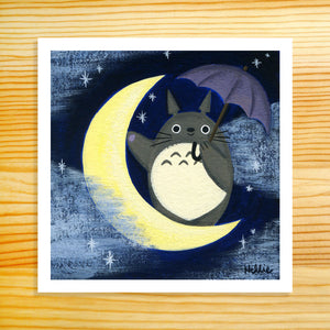 Totoro on the Moon - 5x5 Print
