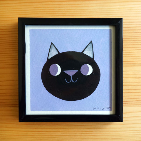 Twilight Black Cat - 4x4 Painting