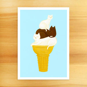 Vanilla Chocolate Twist Cats Art Print