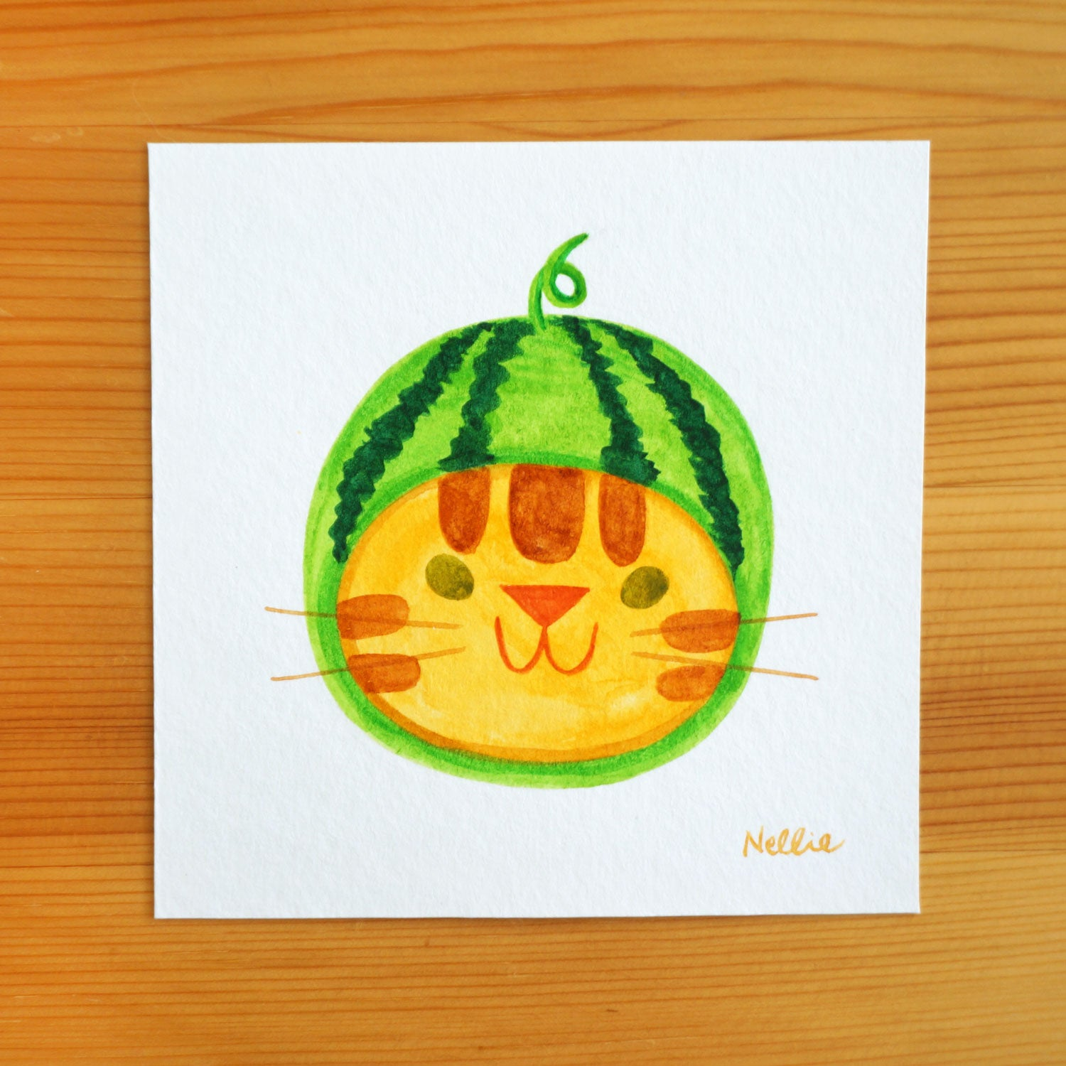 Watermelon Cat - Mini Painting