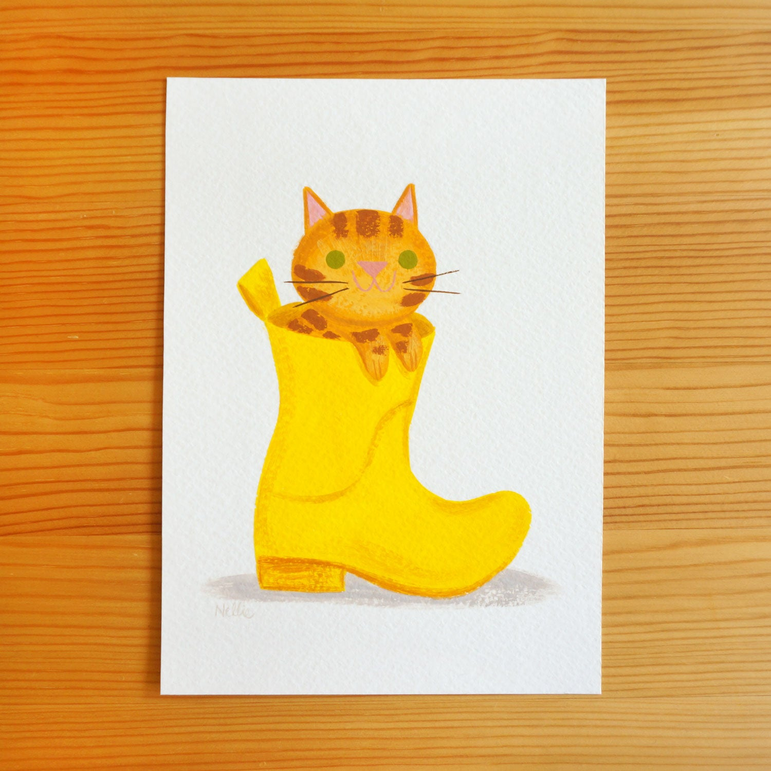 Yellow Welly Ginger Cat - Original Painting