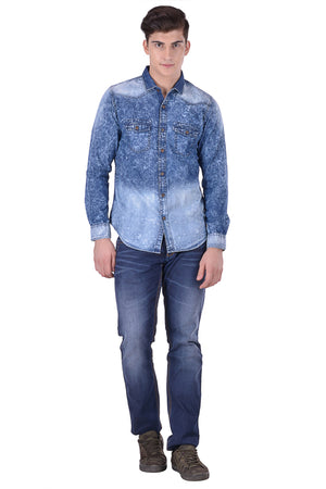 Hoffmen Men's Casual Blue Denim Shirt CF7048
