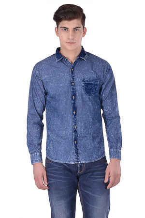 Hoffmen Men's Solid Casual Denim Shirt CF7085