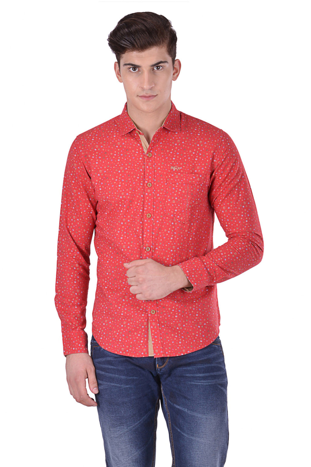 Hoffmen Men's Casual Red Linen Shirt CF7096