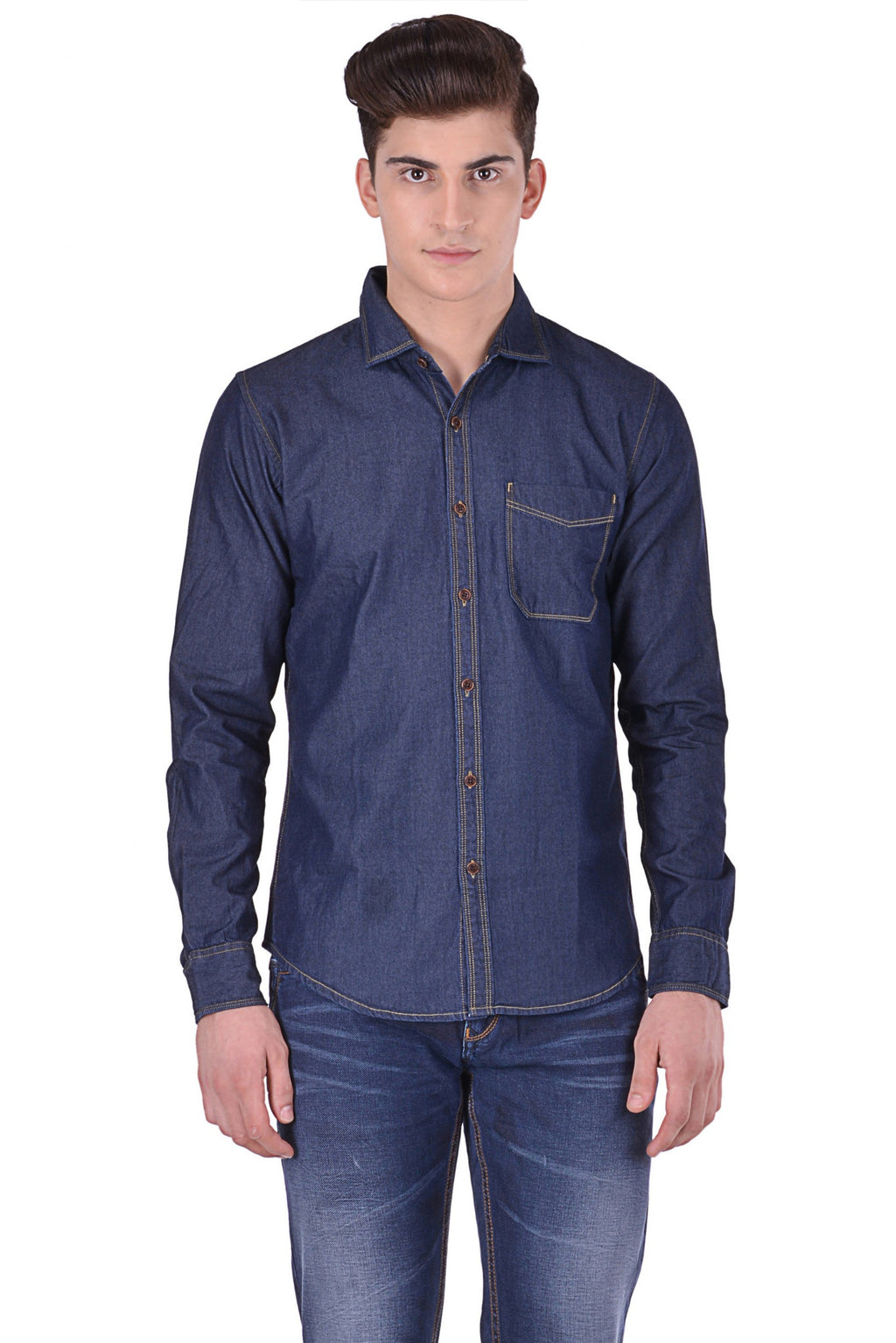 Hoffmen Men's Solid Casual Blue Denim Shirt DMA462 09