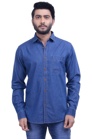 Hoffmen Men's Solid Casual Blue Denim Shirt DMA462-04