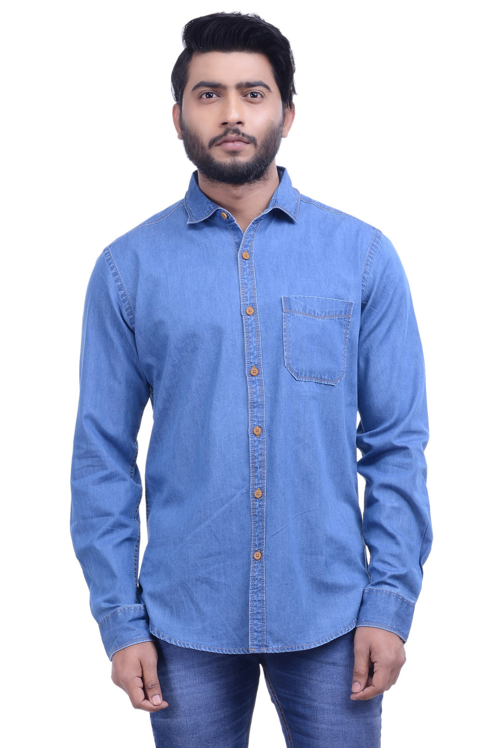 Hoffmen Men's Solid Casual Blue Denim Shirt DMA462-08