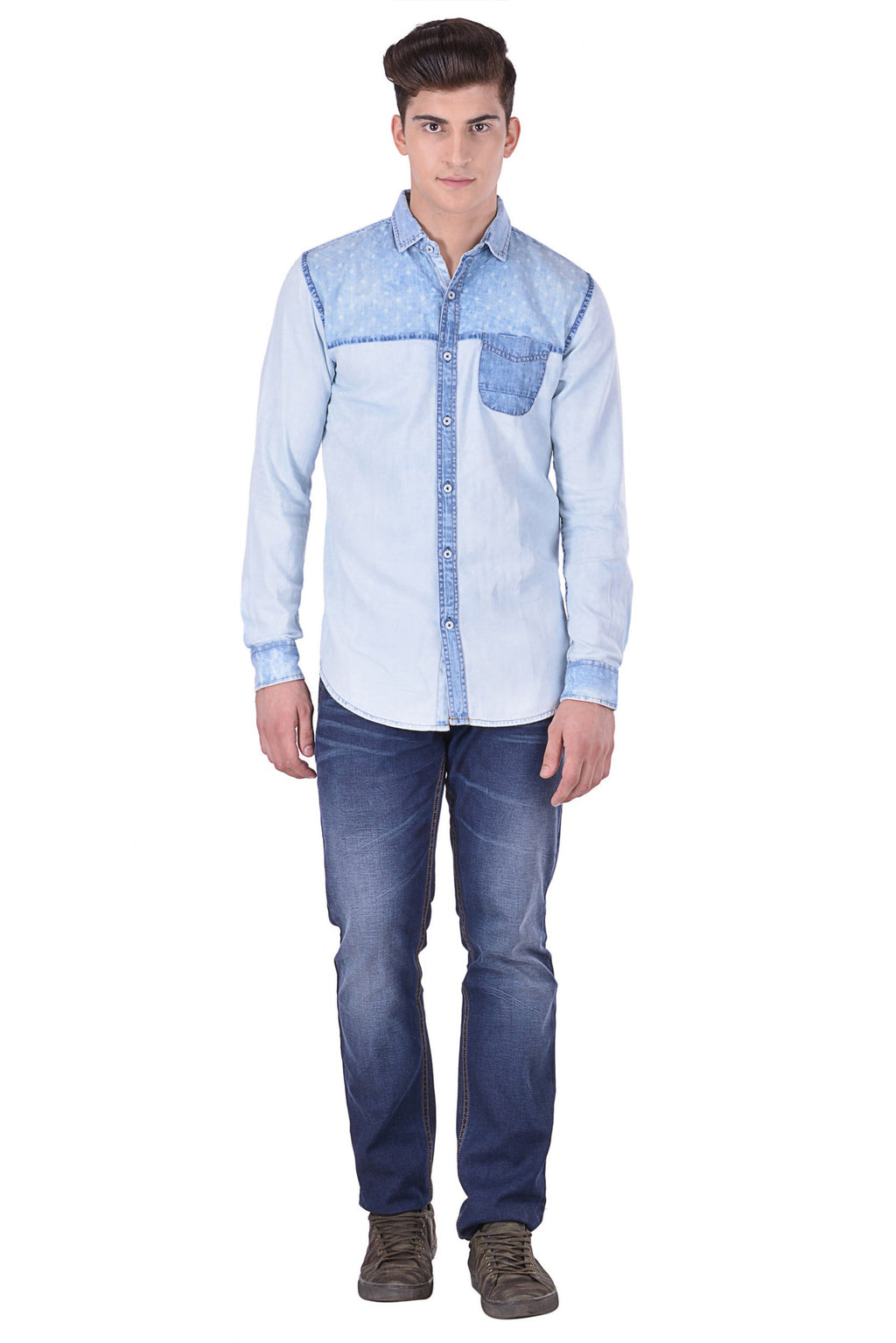 Hoffmen Men's Solid Casual Blue Denim Shirt DP1007