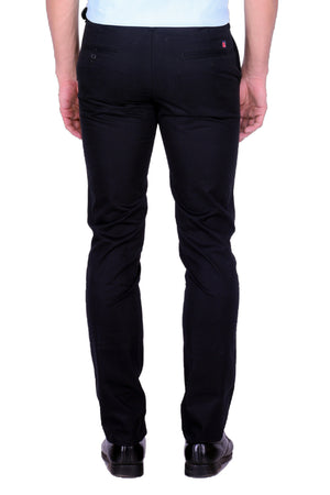 Hoffmen Regular Fit   Men's Black Cotton Trousers MCG6001