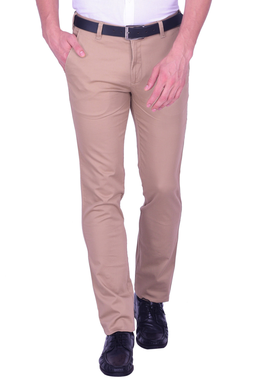 Hoffmen Slim Fit Flat Front  Men's  biscuit Colour Trousers SSG3009