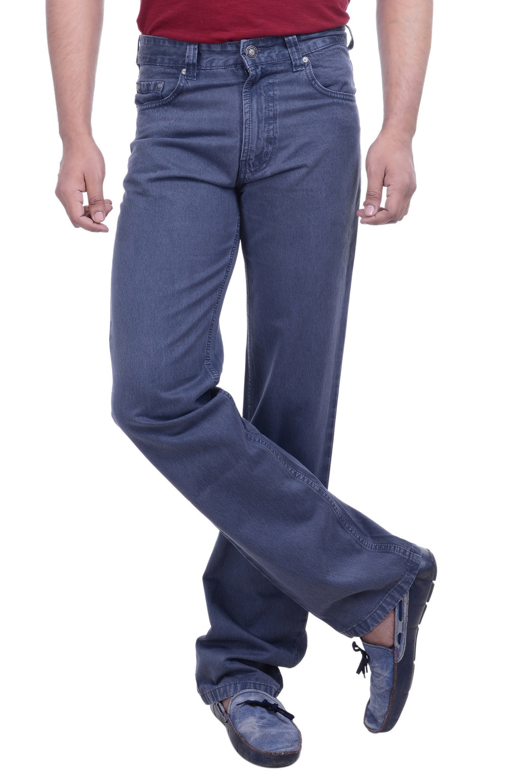Hoffmen Men's Regular Fit  Cowboy Deep Grey Silky Jeans SDG2107