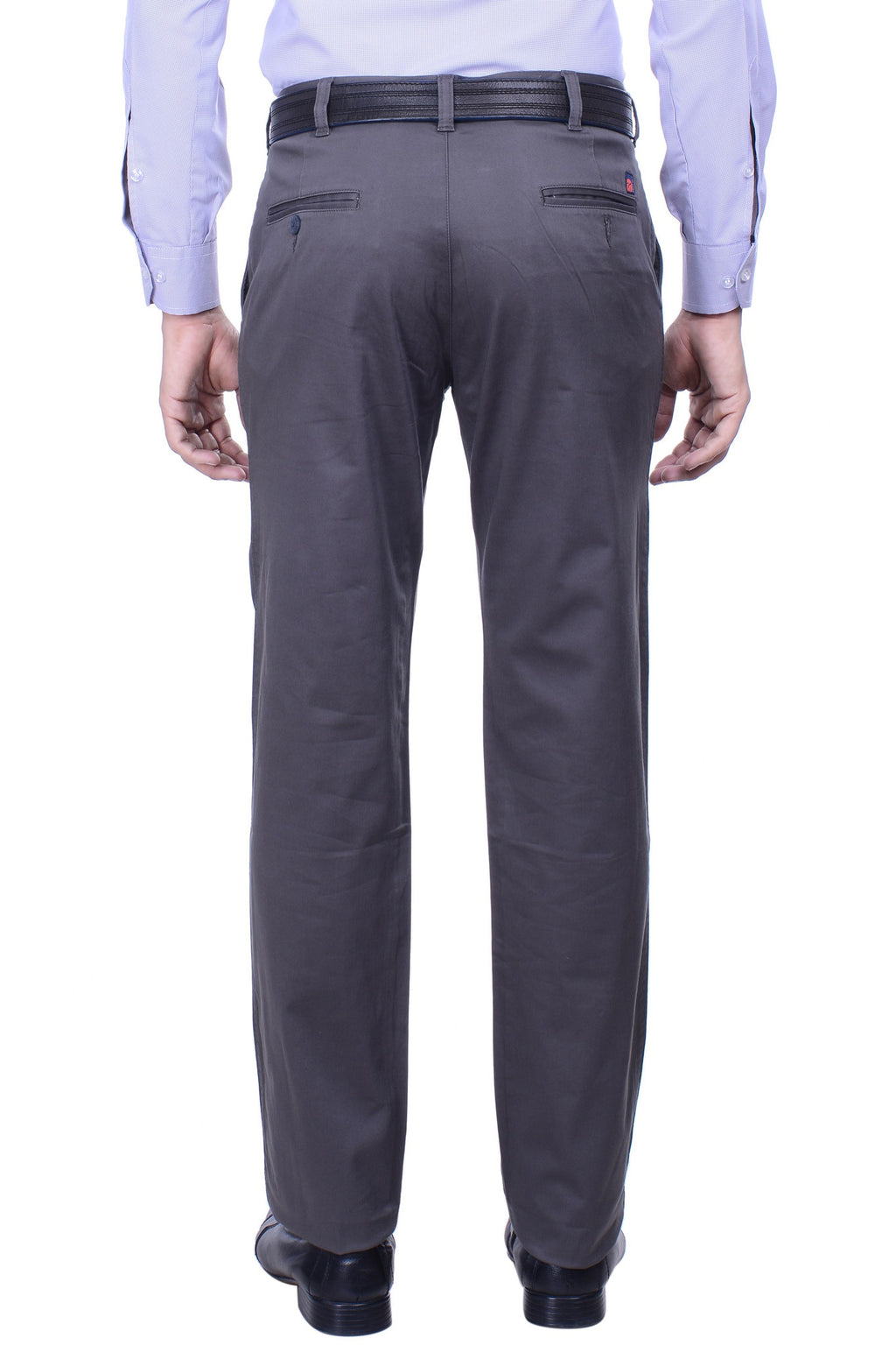 Hoffmen Slim Fit Flat Front  Men's Grey Trousers SSG3001