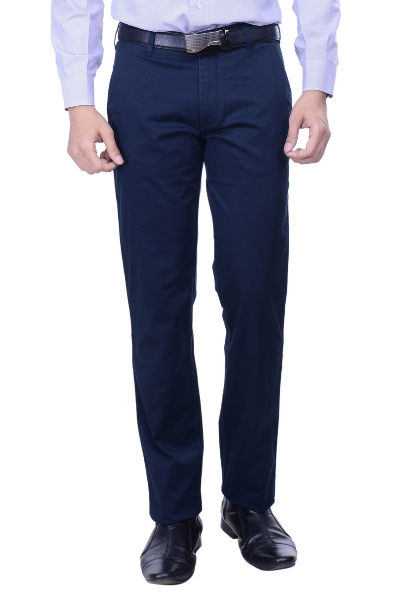 Hoffmen Slim Fit Flat Front  Men's Navy Blue Trousers SSG3004
