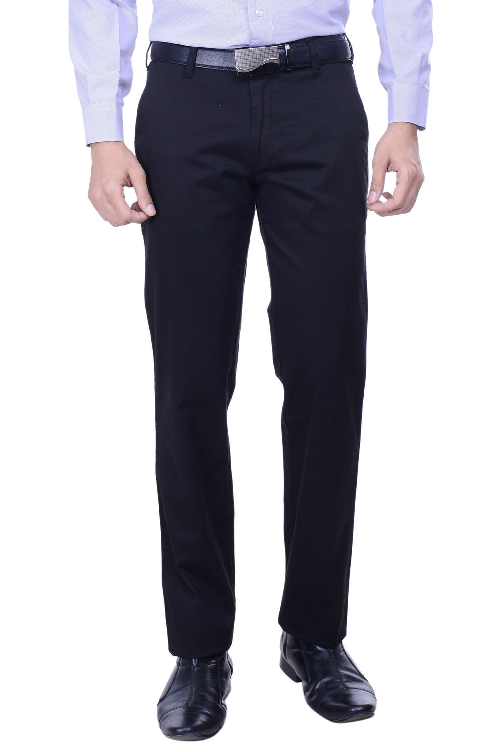 Hoffmen Slim Fit Flat Front  Men's Black Trousers SSG3005