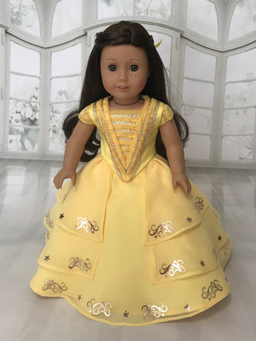 "Disney Belle Beauty and the Beast movie dress for American Girl doll and 18"" Dolls."