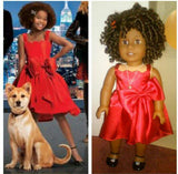 Annie Red Dress with Bow for American Girl Doll