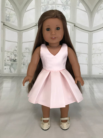 Pink pleated dres for American Girl Doll