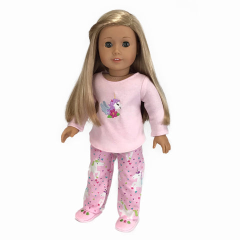 Unicorn pajamas set fit American Girl doll