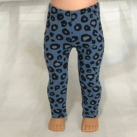 Trendy leggings cheetah blue fit American girl dolls