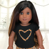 Black shirt with brown cheetah heart fit American girl doll
