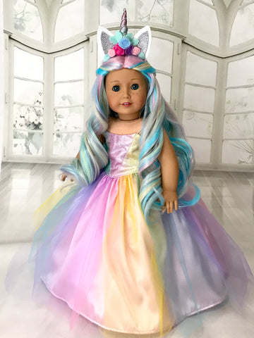 Unicorn Dress and Tiara for American Girl doll