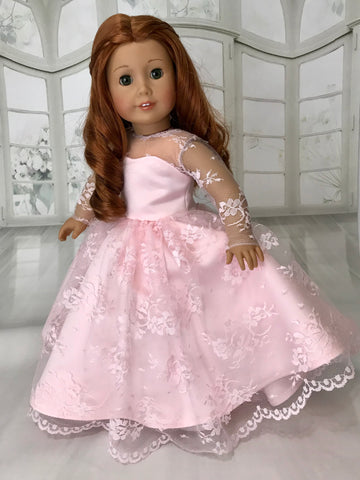 Pink Lace Dress Ball Gown for American Girl Doll