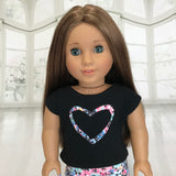 Black shirt with flowers heart fit American girl doll