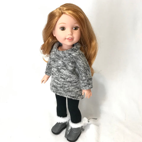 Grey Pullover for Wellie Wishers Doll