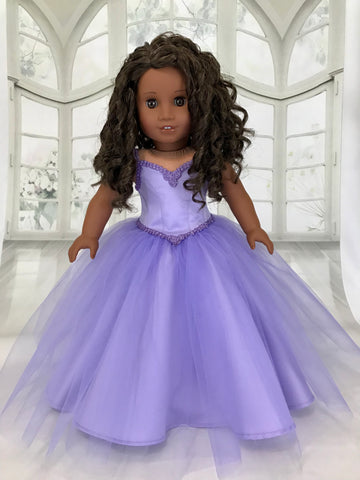 Pageant Dress Ball Gown for American Girl Doll Purple